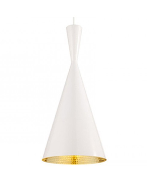 The Beat Tall White Pendant, designed by Tom Dixon.