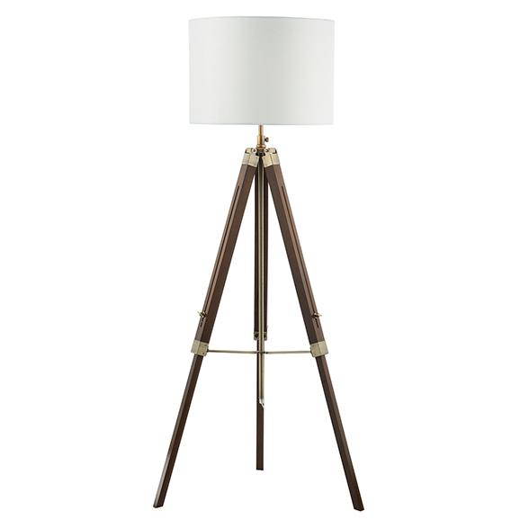 Tripod Floor Lamp Wood and Brass