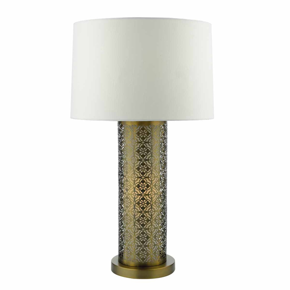 3BANASW4263 Bokara Table Lamp Silver Complete With Shade