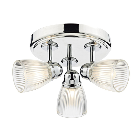 3BANCED7638 - Dar Cedric Triple Light Round Plate Polished Chrome Spotlight
