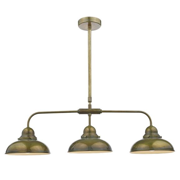 3BANDYN0342 - Dar Dynamo Triple Light Bar Weathered Brass Pendant
