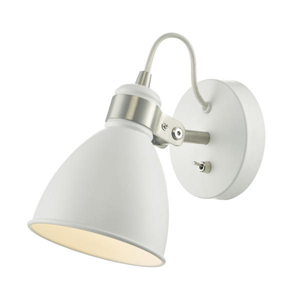 3BANFRE0702 - Dar Frederick White Satin Chrome Wall Light