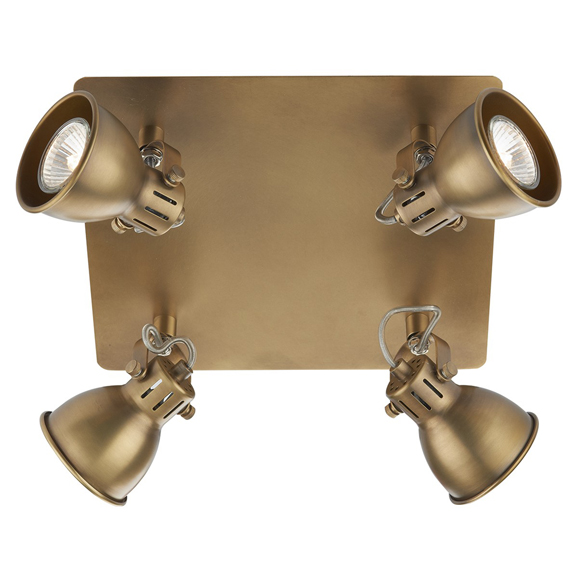 3BANIDA8575 Idaho 4 Light Plate Spot GU10 Natural Brass