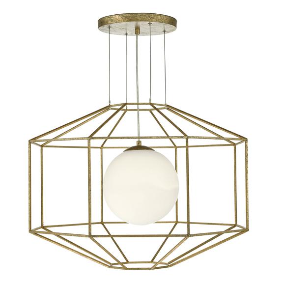 3BANIZM0135 Izmir 1 Light Pendant Hexagonal Old Gold Frame Opal Glass
