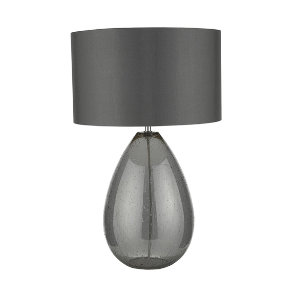 3BANRAI4239 Rain Table Lamp Smoked Glass with Grey Shade