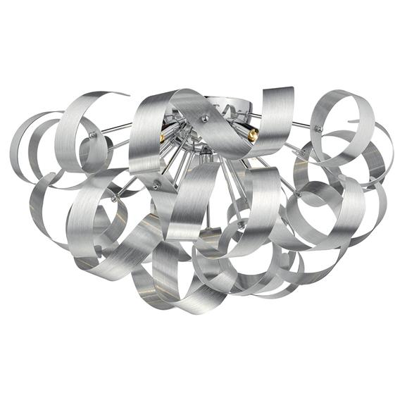 3BANRAW0550 Rawley 5 Light G9 Flush Brushed Aluminium