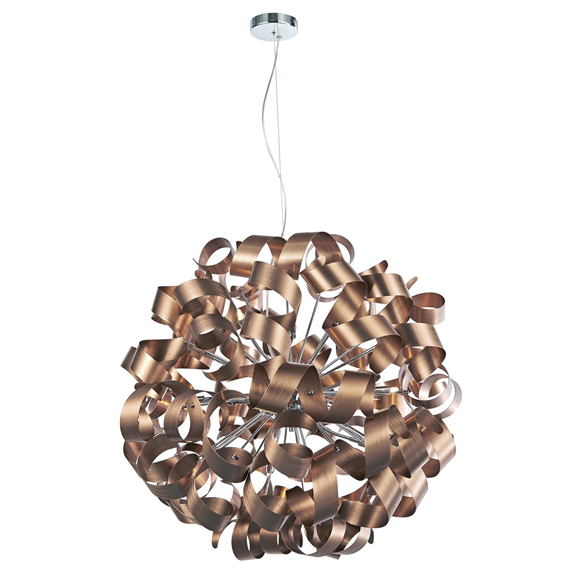 3BANRAW1264 Rawley 12 Light Ribbon Pendant Brushed Copper