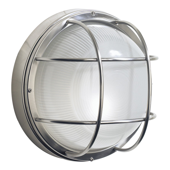 3BANSAL5044 Salcombe Large Round Steel Wall Light IP44