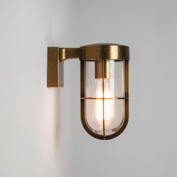 Astro cabin antique brass wall light