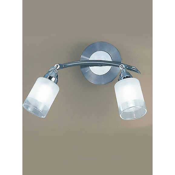 3MILDP40022 - Franklite Campani Chrome and Satin Nickel 2 Light Wall Spotlight