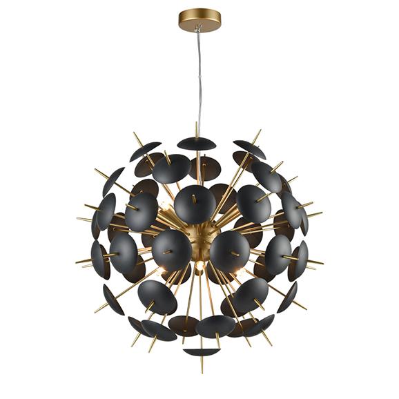 3MILFL238612 - Franklite Dandy 700 12 Lamp Spherical Pendant in Gold with Black Discs