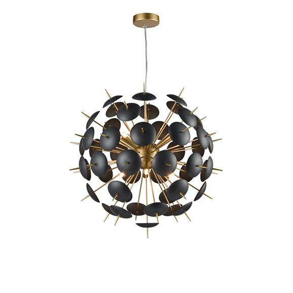 3MILFL23866 - Franklite Dandy 600 6 Lamp Spherical Pendant in Gold with Black Discs