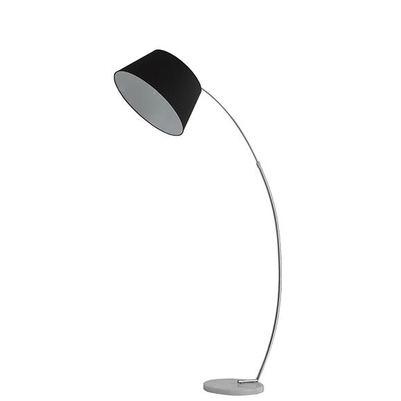 3MILSL2261173 - Franklite Chrome Black Shade White Marble Base Extendable Standard Lamp