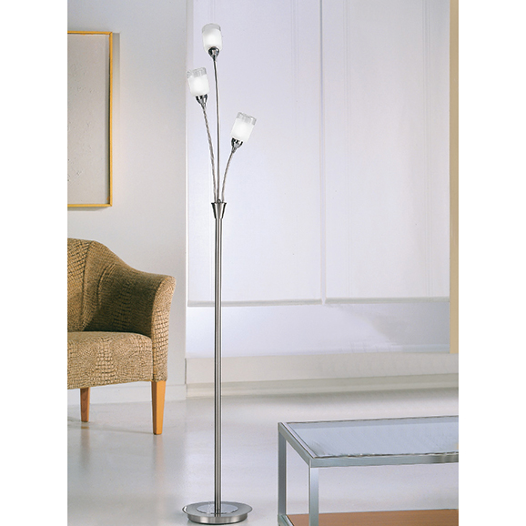 3MILSP80023 - Franklite Campani Chrome and Satin Nickel 3 Light Spotlight Floor Lamp