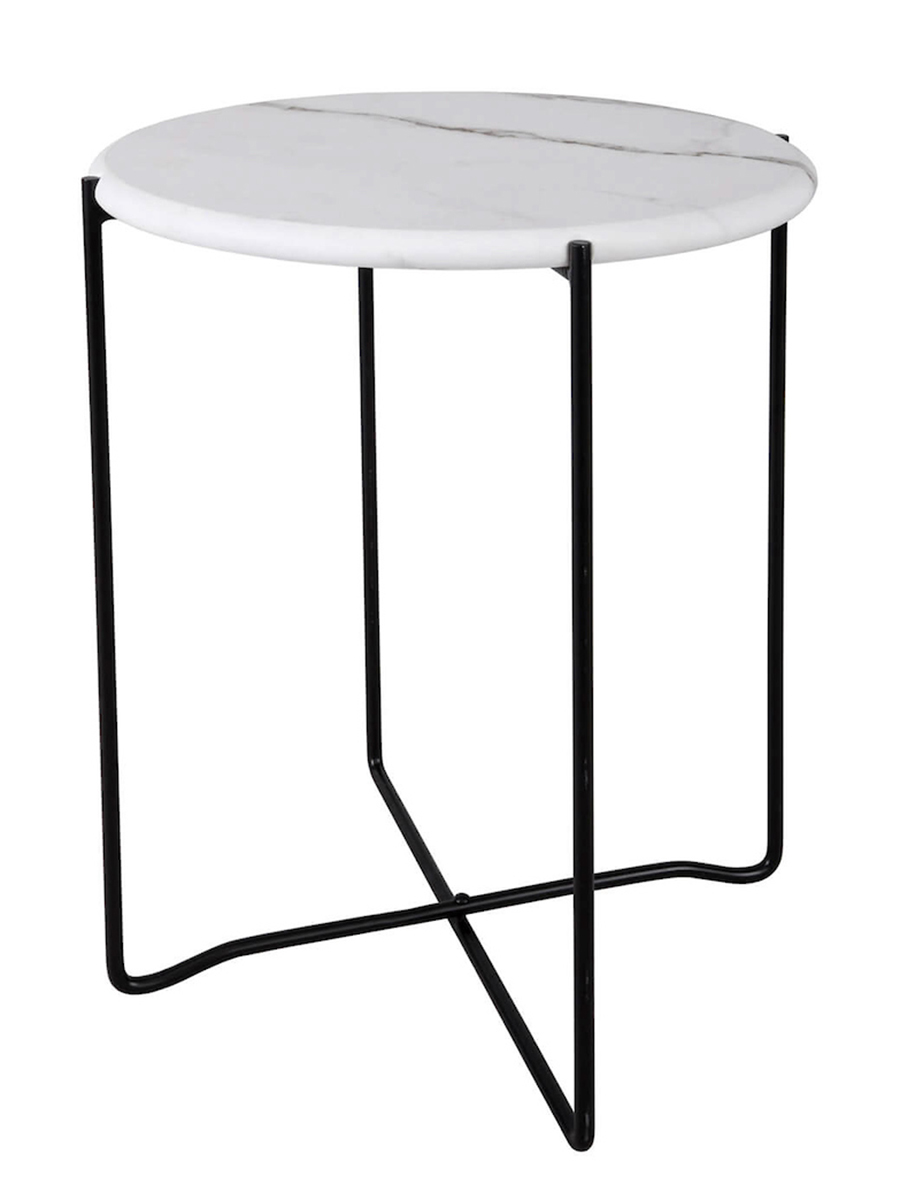 Azzate White Marble Round Side Table Amos Lighting Home