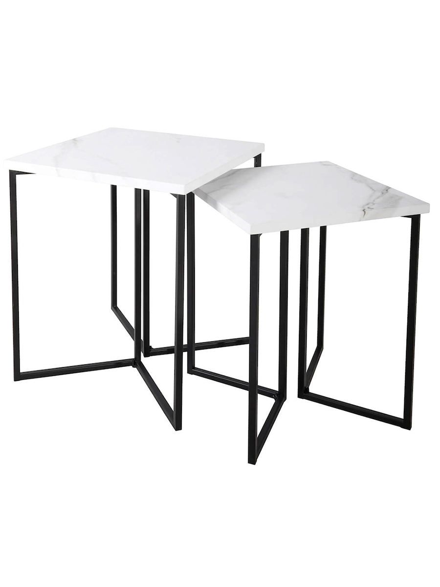 Fotini White Marble Nested Side Table Amos Lighting Home