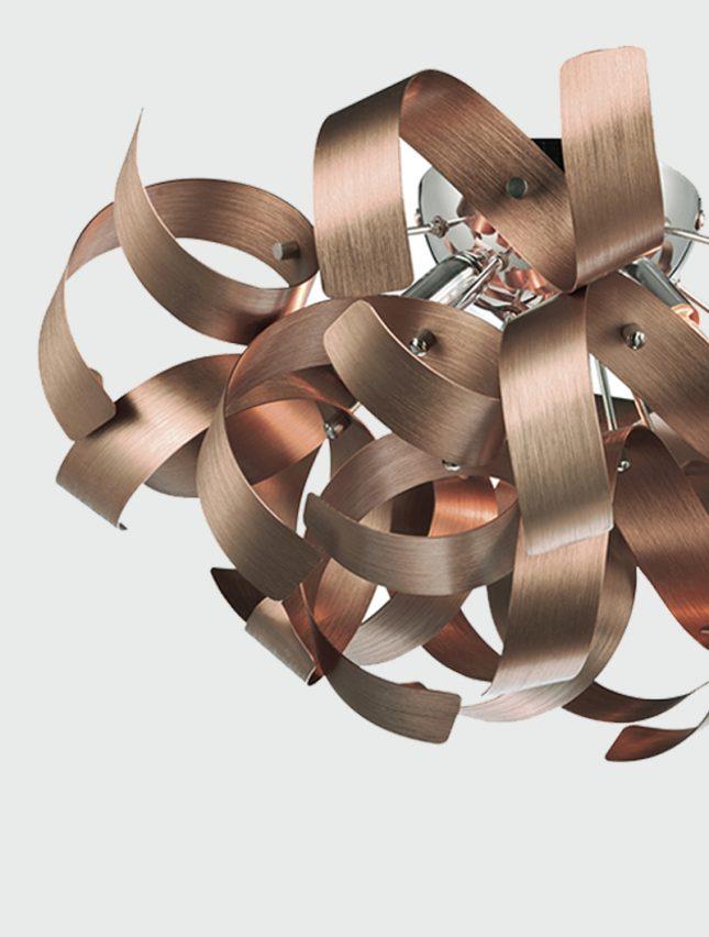 D 228 R Rawley Brushed Copper 4 Light Flush Ceiling Light