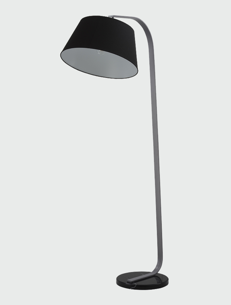 Franklite Black Marble Floor Lamp With Black Shade