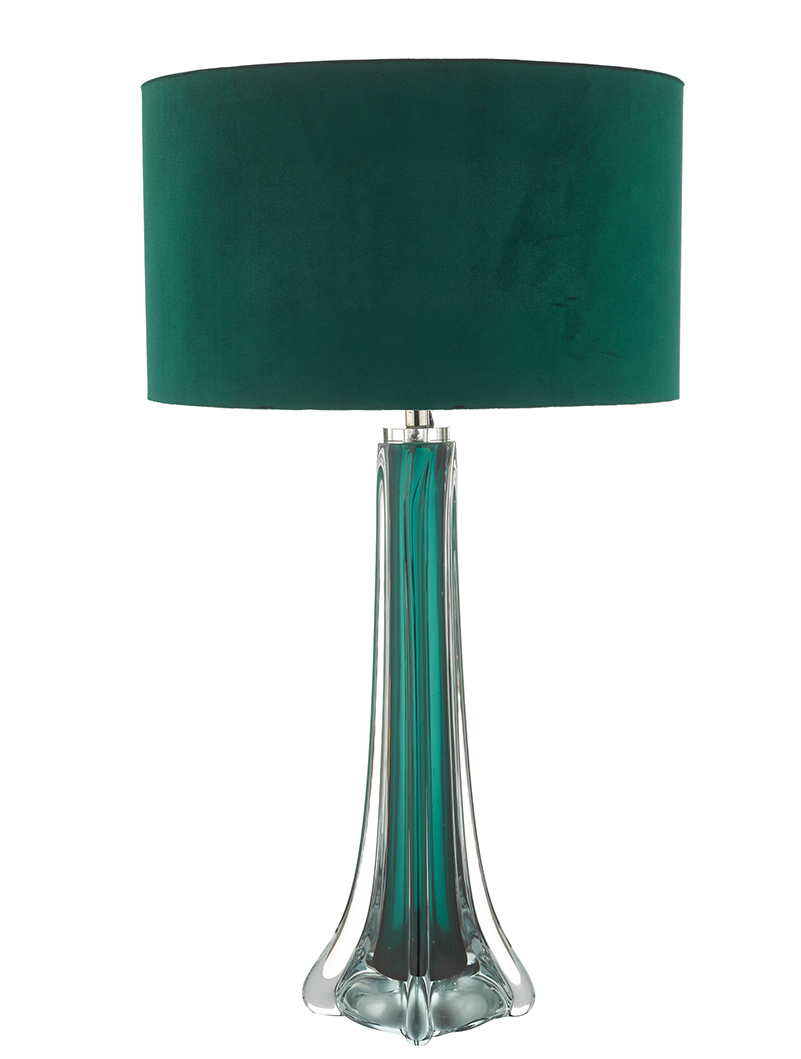 Picture of: Yoshi Green And Clear Glass Table Lamp With Akavia Shade Amos Lighting Home