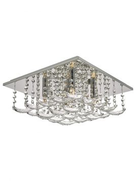 Orella 5 Light Flush Polished Chrome & Crystal